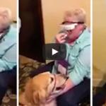 盲目の女性、視覚補正メガネをつけてパートナーの盲導犬を初めて目にする・・・
